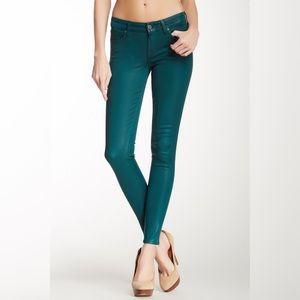 7FAM | Skinny Coated Jean in Evergreen Teal